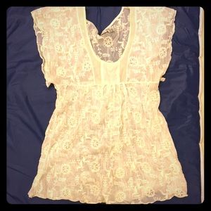 Lace swimsuit cover top